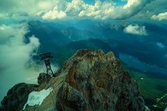 Highest mountain peak Zugspitze near Garmisch Partenkirchen. Bavaria, Germany. Royalty Free Stock Photography