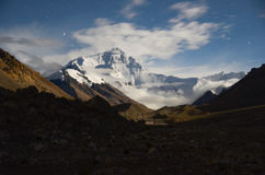 The highest mountain in world at night. Everest(Qomolangma) is the highest mountain in the world.It is the main peak of the Himalayan mountains royalty free stock image