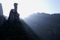 Highest Mountan peak in JiangXi, China. San Qin Mountain lies in the northeast of JiangXi Province, China. It is a marve, within an area of 220 square kilometers Stock Photo