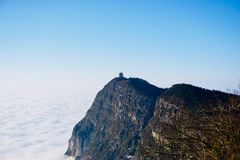 The highest peak of Mount Emei is called Wanfoding stock photo