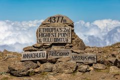 The highest peak signpost of Bale Mountain royalty free stock images