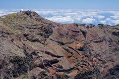 Highest peak with telescope at L. Highest peak with telescope of crater Caldera de Taburiente at La Palma, Canary Islands stock image