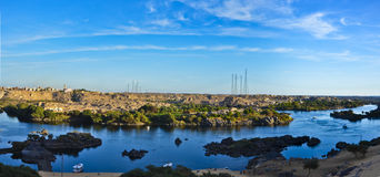 Highest point over the mountains and rocks in the River Nile in Aswan. Egypt Nubia Royalty Free Stock Photos