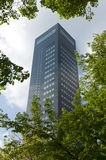 The highest tower in northern Netherlands, Achmea tower Leeuwarden. The highest tower in the north of the Netherlands. Seen through branches of trees. The Achmea Royalty Free Stock Photos