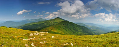 Highest Ukrainian mountains panorama Royalty Free Stock Photos
