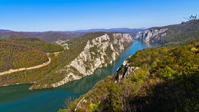 Highest vertical cliffs over Danube river at Djerdap gorge and national park. In east Serbia Stock Image