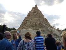 Highest in the world sandcastle 16,68 meters in 2017. DUISBURG, NRW, GERMANY - 2 Sep. 2017 Guinness record. Highest in the world sandcastle 16,68 meters in the Stock Photos