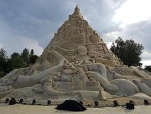 Highest in the world sandcastle 16,68 meters in 2017. DUISBURG, NRW, GERMANY - 2 Sep. 2017 Guinness record. Highest in the world sandcastle 16,68 meters in the Royalty Free Stock Photography
