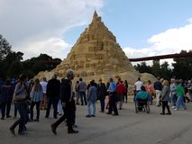 Highest in the world sandcastle 16,68 meters in 2017. DUISBURG, NRW, GERMANY - 2 Sep. 2017 Guinness record. Highest in the world sandcastle 16,68 meters in the Stock Photography
