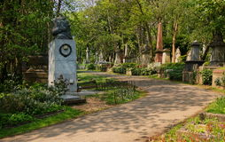 HIGHGATE, HIGHGATE, LONDON, UK - March 12, 2016: Path leading through the East Cemetery past the memorial to Karl Marx, UK - March Royalty Free Stock Photos