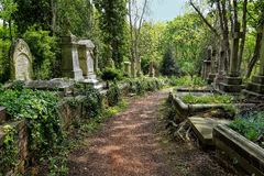 HIGHGATE, LONDON, UK - March 12, 2016: Graves in the East cemetery of Highgate Cemetery Royalty Free Stock Photos