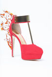 Highheel on fire. This high heel is burning stock image