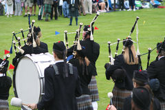 Highland band rear view Royalty Free Stock Image
