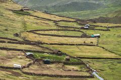 Highland countryside in Peru. High altitude traditional farms with stone fences in Peruvian Andes royalty free stock photos