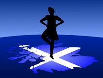 Highland dancer on map Stock Photography