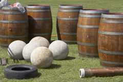 Highland Games Equipment. Scottish highland games stones and barrels Stock Images