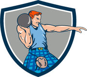 Highland Games Stone Put Throw Crest Retro Stock Photos