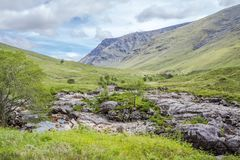 Highland hills with river Etive in foreground. Lochaber, Scotland Stock Photography
