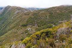 Highland landscape with green forest and hiking track Stock Photo