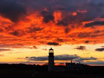 The Highland Light silhouette under sunset royalty free stock photo