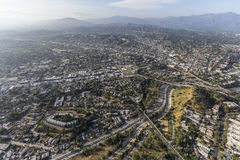 Highland Park Los Angeles Aerial Stock Photo