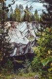 Highland Park national Ruskeala dans la République de la Carélie, Russie Concept russe de tourisme Bel automne Images libres de droits