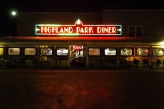 Highland- Parkrestaurant nachts in Rochester New York lizenzfreies stockfoto