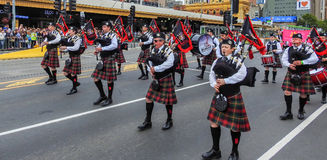 Highland pipe band royalty free stock image