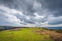The highland plateau in Northeastern Catalonia. Storm clouds over the highland plateau in Northeastern Catalonia stock image