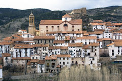 The highland at Spain. The little village Linares de Mora at the spanish highlands. It lies at  the neighbourhood of Teruel, Spain Stock Photos