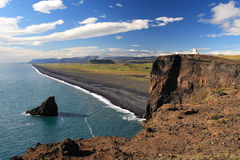 Highland View of Dryholaey Beach. High, panoramic view of a beach near Dryholaey, Iceland where sheer cliffs meet the sea Royalty Free Stock Photo