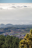Highland village on the island of Tenerife. The view from the height of the clouds. Canary Islands, Spain Stock Images