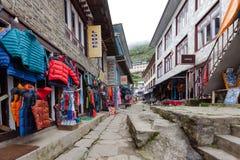 Highland village Namche Bazar in Khumbu region Royalty Free Stock Images