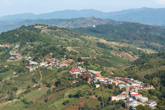 Highland Village på det Doi Mae Salong berget, Chiangrai, Thailand Arkivfoto