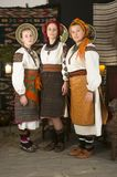 Highlanders Hutsuls in the Carpathians in vintage clothes royalty free stock image
