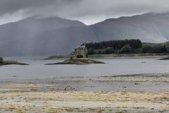 Highlands Castle Stalker under dramatic sky, near Oban stock image