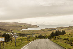 Highlands landscape. Typical highland landscape, on the way to the farthest point to the west of Highland, Skye Island, Scotland Royalty Free Stock Photos