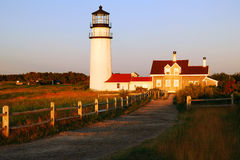 Highlands Lighthouse. The Hioghlands Lighthouse stands on a cliff on Cape Cod near the town of Truro stock images