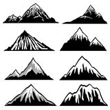 Highlands, mountains vector silhouettes with snow capped peaks and hillsides. Snow mountain summit illustration of shape mountain landscape Royalty Free Stock Photography