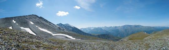 Highlands pano, Pass Karaturek. Trekking in the Altai Mountains Royalty Free Stock Photography