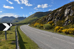 Highlands. Road to the Highlands of Scotland - Mountains and lakes royalty free stock photo
