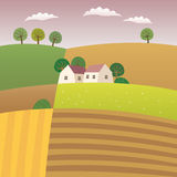 Highlands. Vector illustration of an agriculture lanscape Stock Photo