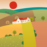 Highlands. Vector illustration of farm countryside Royalty Free Stock Images