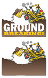 Highlift loader breaking ground. A cartoon highlift loader digs a hole depicting a ground breaking. One version with GROUND BREAKING type and one without vector illustration