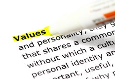 Highligh wording Values Stock Image