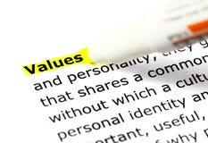 Highligh wording Values