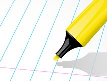 Highligher pen and ruled paper Royalty Free Stock Image