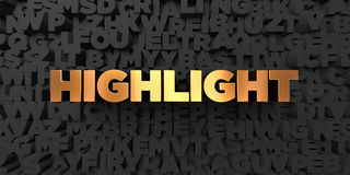 Highlight - Gold text on black background - 3D rendered royalty free stock picture Royalty Free Stock Images
