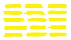 Highlight line. Marker color stroke, brush pen hand drawn underline. Vector permanent marker yellow line set. Highlight line. Marker color stroke, brush pen hand stock illustration