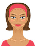 Highlight and shading maquillage. Professional Contouring face makeup simple. Royalty Free Stock Photography